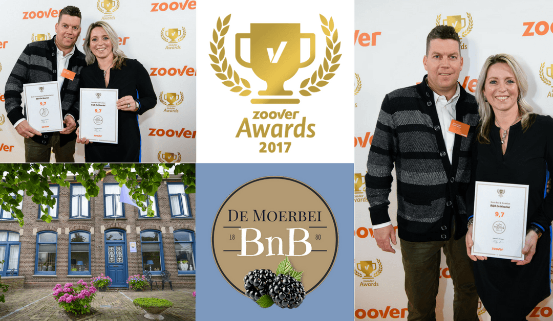 BnB De Moerbei wint Gouden Zoover Award!